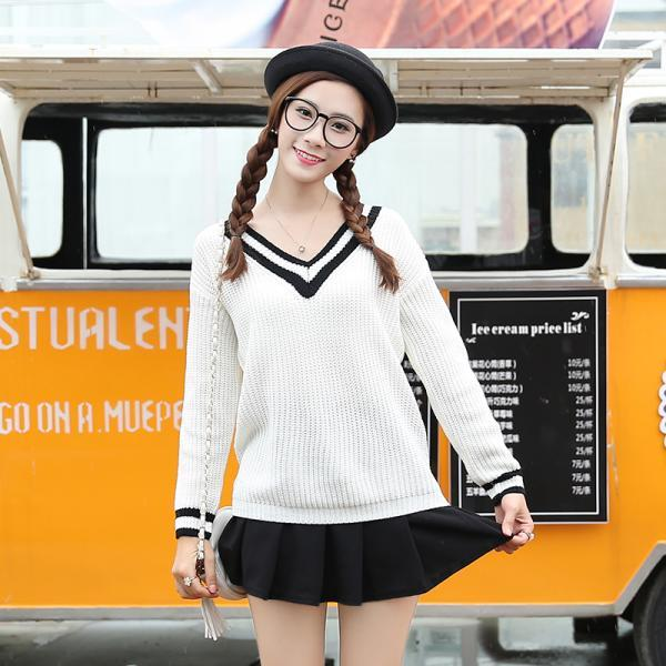 Woman V Neck Long Sleeve Student Sweater