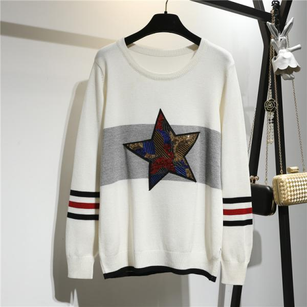 Lucky Stars Loose Woman Round Neck Batwing Sleeve Sweater - White