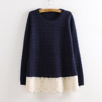 Free shipping Fashion Loose Batwing Sleeve Lace Sweater For Women - Navy Blue