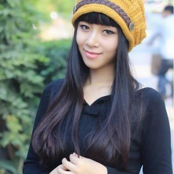 Free shipping Fashion Slouchy Knitted Hat Cap For Women - Yellow