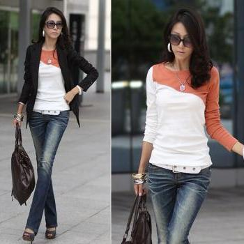 Women Cotton long sleeve T- shirt - Orange
