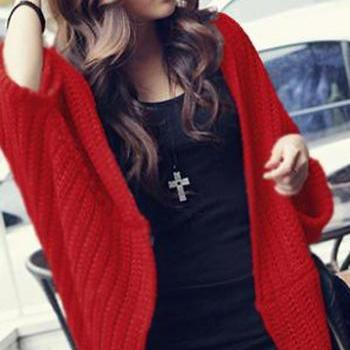 Good Quality Women Batwing-sleeve Cardigan Sweater - Red