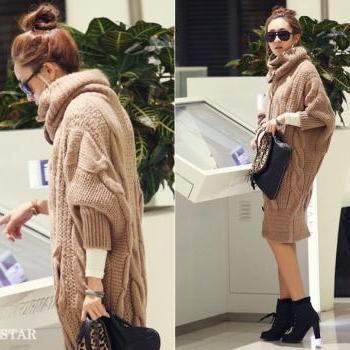 Elagant Stand Stack Collar Loose Fit Hemp Flowers Single Breasted Batwing Sleeves Woolen Yarn Cardigan For Women - Khaki
