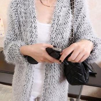 Autumn Winter Mohair Long Sleeve Sweater Coat for Woman