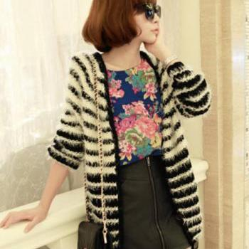 Girls White and Black Color Blocking Long Cardigans