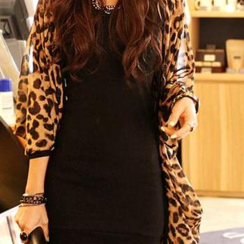 Fashion Batwing Sleeve Leopard Long Chiffon Cardigans