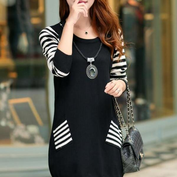 New Round Neck Long Sleeve Loose Sweater For Women - Black
