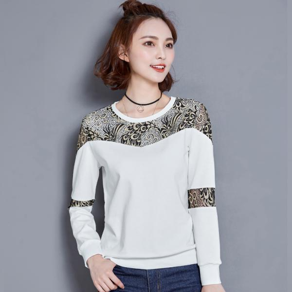 Fashion Round Collar Hollow Top Shirt For Women