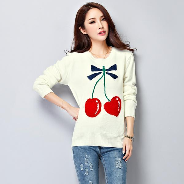 Cute Women Cherry Pattern White Sweater