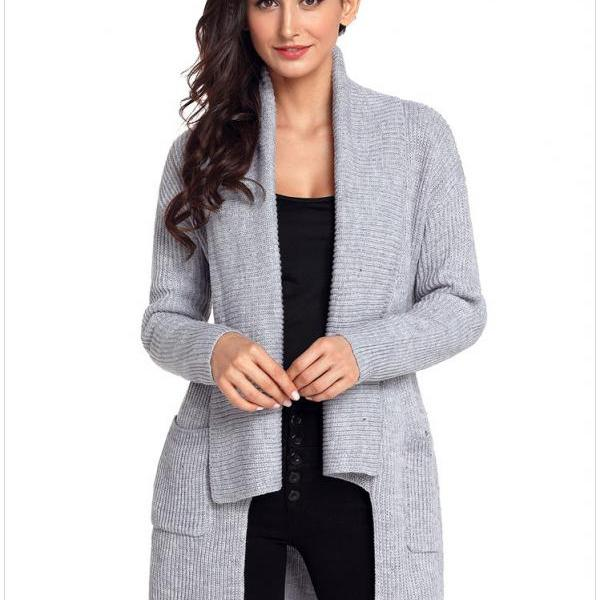 Long Sleeve Pocket Knitting Pattern Cardigan - Grey
