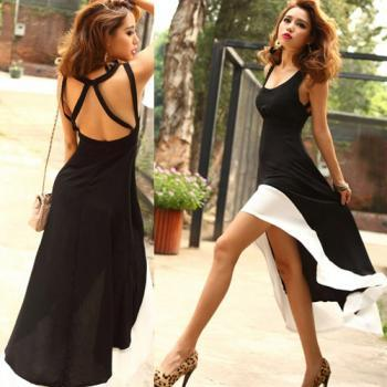 Free shipping Women's Fashion Sexy U-Neck Backless Swallow Tail Design Long Dress