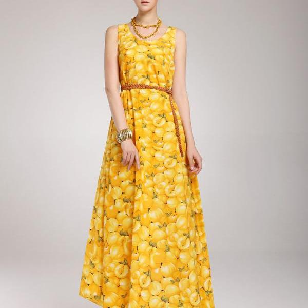 Princess Style V Neck High Waist Yellow Printed Chiffon Dress