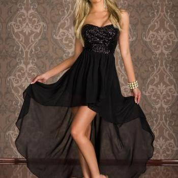 Charming Strapless High Low Hem Black Dress with Sequin