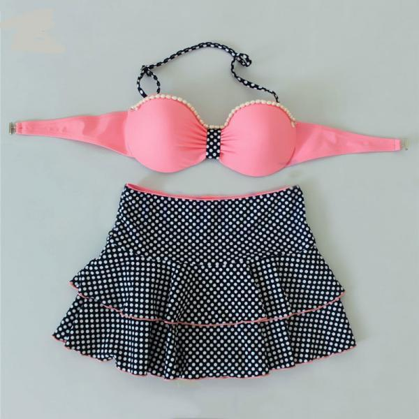 New Dot Print Sexy Swimsuit Girls Cute Bow Knot Bikini Set - Pink