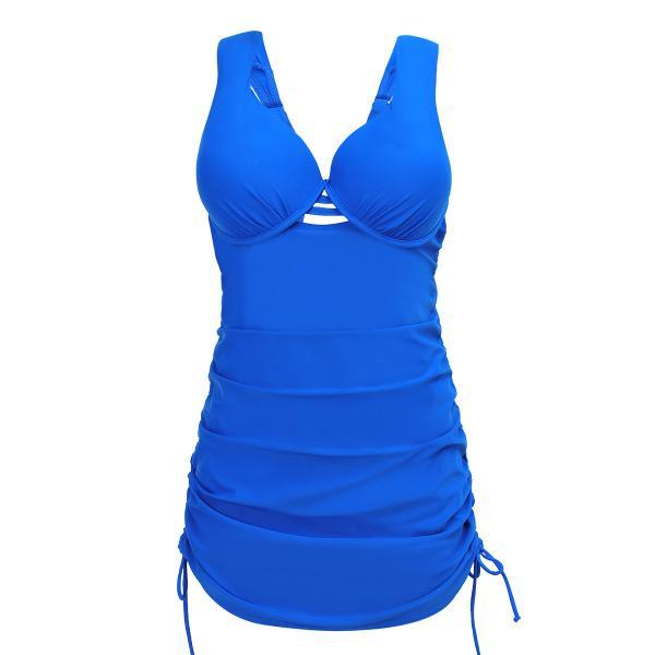 Women Top Plus Size Swimwear 2XL 3XL 4XL Push Up Bathing Suit Ladies Swimming Suit - Blue