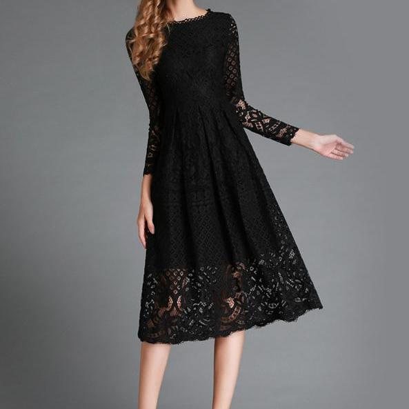 Women elegant lace black hollow out long sleeve dress
