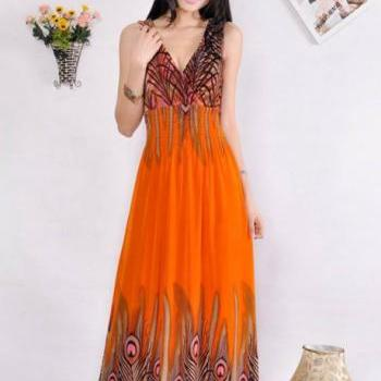 Ethnic Style Sleeveless Embossing High Waist Dress - Orange