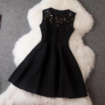 Luxury Designer Sequined Sleeveless Dress For Autumn&Winter - Black