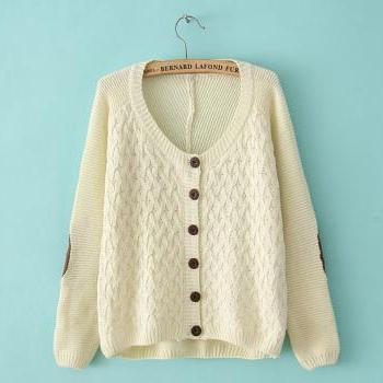 2014 Good Design Loose O Neck Long Sleeve Cardigan Sweater - Beige
