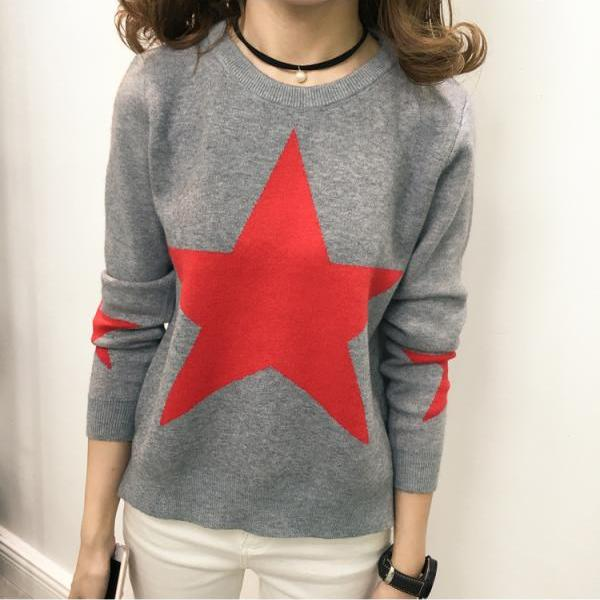 Sweet Long Sleeve Star Pattern Sweater