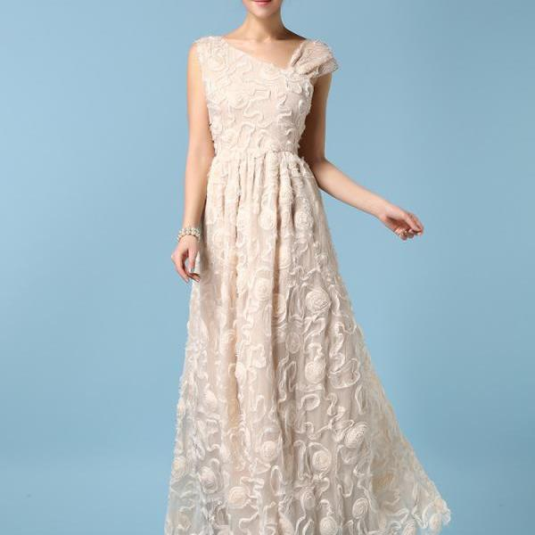 High Quality Beautiful Organza embroidered Maxi Dress - Apricot