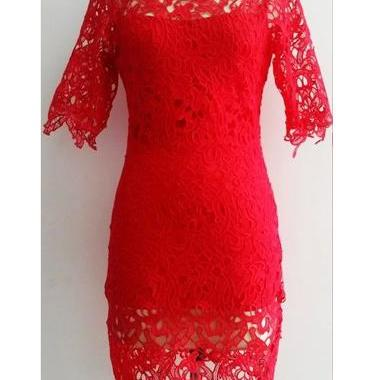 Sexy And Pretty Short Sleeve Solid Dress for Woman - Red