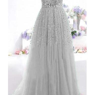 Silver Sweetheart Neckline Floor Length Prom Dress with Sequin Beading