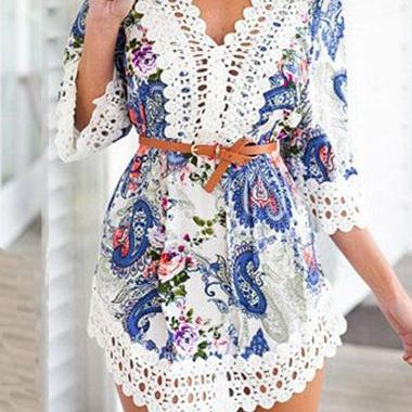 Classic Lace Crochet Splicing Paisley Print Chiffon Dress