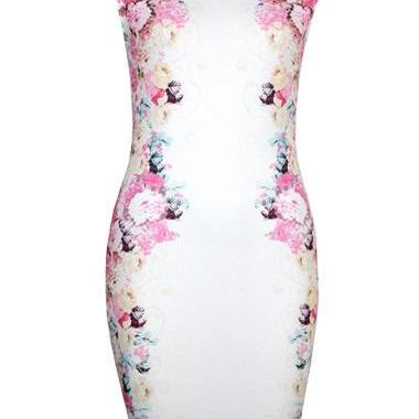 High Quality Romantic Round Neck Cap Sleeve Sheath Dress with Print