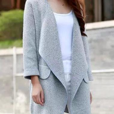 High Quality Turndown Collar Pocket Decorated Cardigan (2 colors)