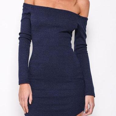 Sexy Long Sleeve Off The Shoulder Navy Blue Dress