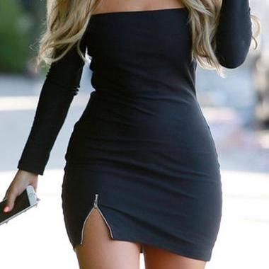 Sexy Zipper Decorated Off the Shoulder Bodycon Dress (2 colors)
