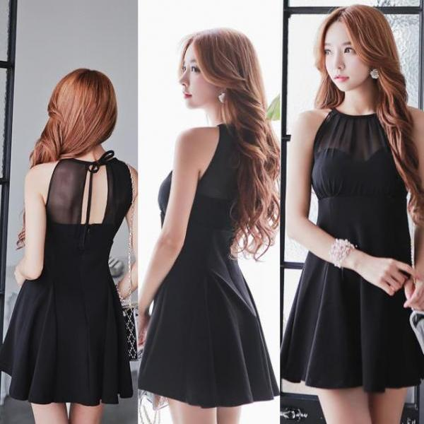 Cute Above Knee A Line Sleeveless Dress (2 colors)