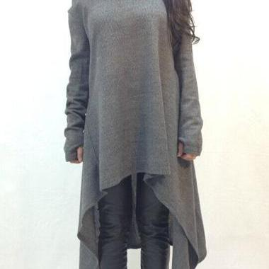 Fashion Round Neck Dark Grey High Low Sweater For Women
