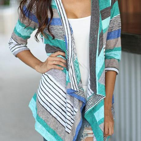 Fashion Three Quarter Sleeve Stripe Print Cardigan - Light Blue