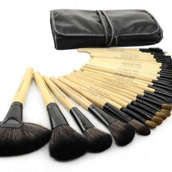 Good Quality 32 pcs Makeup Brush Kit Makeup Brushes with Leather Case - Wood