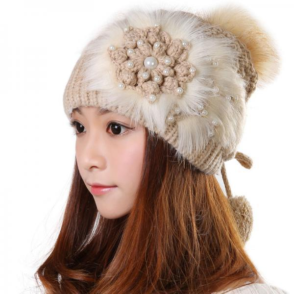 Free shipping Knitted Hat Ball Beanies Winter Hat For Women - Khaki