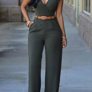 Sexy Pocket Design Sleeveless Jumpsuit - Dark Green