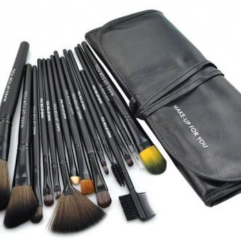New15 PCS Professioal Makeup Brush Set with Black Leather Case - Black