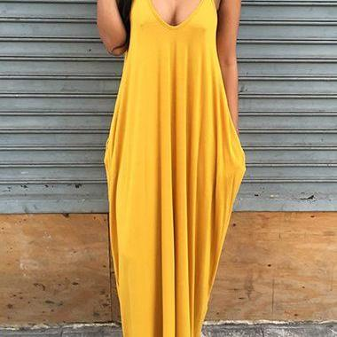 Mustard Yellow Plunge V Spaghetti Straps Maxi Dress