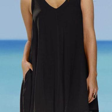 Free Shipping Casual Tank V Neck  Mini Dress - Black