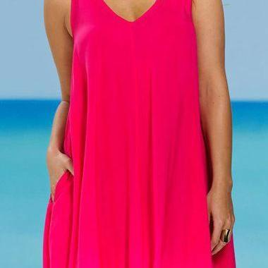 Free Shipping Casual Tank V Neck Mini Dress- Rose