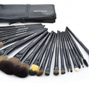 High Quality 24 pcs/set Makeup Brush Cosmetic set Kit Packed in high quality Leather Case - Black