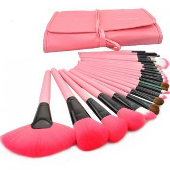 Discount New 24 Pcs/Set Makeup Brush Cosmetic Set Kit Packed In High Quality Leather Case - Pink