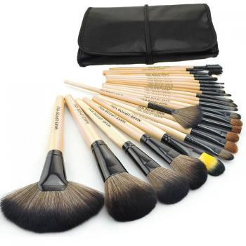 Free Shipping High Quality 24 pcs/set Makeup Brushes Cosmetic set Kit Packed in Black Leather Case - Wood