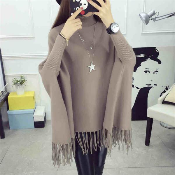High Quality New Casual Turtleneck Batwing Sleeve Sweater - Coffee