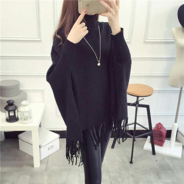 High Quality New Casual Turtleneck Batwing Sleeve Sweater - Black