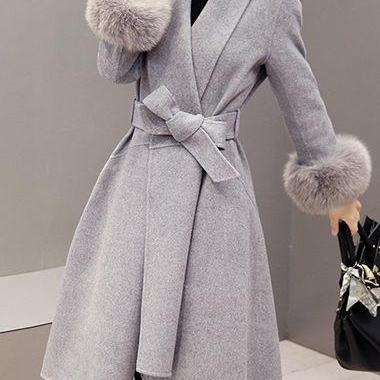 High Quality Long Sleeve Asymmetric Hem Faux Fur Decorated Coat - Grey