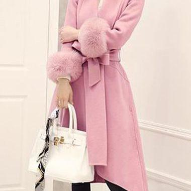High Quality Long Sleeve Asymmetric Hem Faux Fur Decorated Coat - Pink